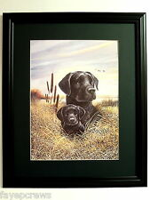 BLACK LAB DOG PICTURE LABRADOR RETRIEVER  PUPPY DUCK HUNTING MATTED FRAMED 16X20