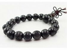 Tibetan 19 10mm Black Sandalwood Carved Buddha Prayer Beads Mala Bracelet 6 1/2""