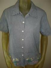 NWT Keneth TOO Black/White GINGHAM Embroidered FLOWERS BEE Shirt Top Womens S