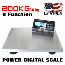 NEW 440lbs LCD AC Digital Floor Bench Scale Postal Platform Shipping/Pet 200Kg