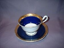 VINTAGE ROYAL ALBERT CUP & SAUCER ~ CROWN CHINA REGENCY ~ NAVY BLUE & GOLD ~ VGC