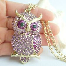 Noble Owl Animal Bird Necklace Pendant Purple Rhinestone Crystals KNL03502C2