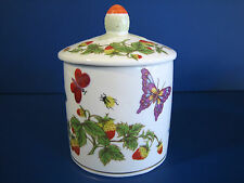 Lenwite Ardalt Artware Jam Jar w Lid Butterfly Strawberry Lady Bug Porcelain EX