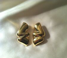 Givenchy Puff Gold Tone Squiggle Bolt Clip Earrings