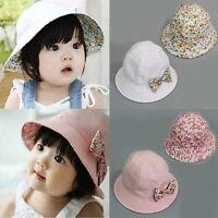 Toddler Infant Flower Bow Sun Cap Summer Outdoor Baby Girls Sun Beach Cotton Hat