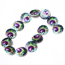 1string 110382+ Peacock Oblate Flat Disc Faux Shell  Loose  Beads 30x3mm