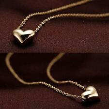 Tiny Elegant Small Gold Love Heart Pendant Necklace Chain Present Great Gift