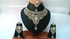AD FASHION DESIGNER'S BOLLYWOOD SILVER PLATED KUNDAN NECKLACE SET EARRINGS TIKA
