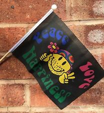 """PEACE LOVE AND HAPPINESS Polyester medium HAND WAVING FLAG 9""""X6"""" 22.5cm x 15cm"""