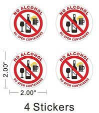 No Alcohol No Open Containers Sign Store Notice Warning Car Bumper Sticker ~A351