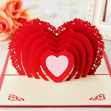 3D Pop Up Greeting Card Love Hearts Happy Anniversary Valentine Easter Birthday