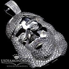 Icy Men's 14k White Gold Finish Jesus Face 3D Lab Diamond Simulate Charm Pendant