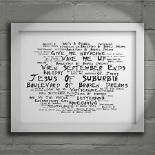`Noir Paranoiac` GREEN DAY Art Print Typography Song Lyrics Signed Wall Poster