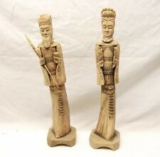 Vtg Hand Carved Chinese Cow Cattle Bone Figurine Statue Pair Man Woman Emperor