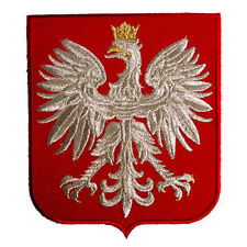 POLAND EAGLE POLISH RED SHIELD POLSKA COAT ARMS SILVER THREAD EMBROIDERED PATCH