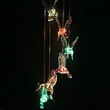 AGPtek® Six Hummingbird Solar Mobile Wind Chimes with Bright Led Lights Great F
