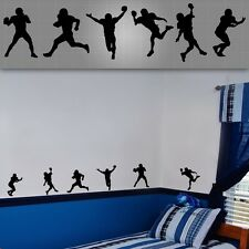 Football player tall silhouette wall stickers,boys football players decal lot