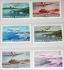 TURKEY TÜRKEI 1949 1225-30 C12-17 Airplanes over Cities Izmir Flugzeuge MNH