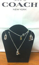 NIB Coach HANGTAG Pave Silver And RoseGold PAVE Necklace and Earrings SET F56436