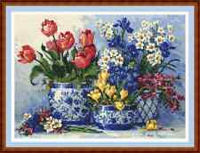 """Arreglo de flores de primavera"""" """"cuadro de punto de cruz patrón/(14 3/4"""" X 10 3/4"""") Nuevo detallada"""