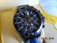 Invicta 45mm Specialty Chronograph Black Dial Black Ion-Plated SS Watch MUST SEE