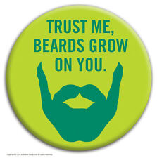 """Brainbox Candy """"Beards Grow on You"""" badge funny hen stag do cheap gift joke"""