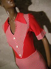 CHIC VINTAGE ROBE CHEVRONS 1960 VTG DRESS STRIPE 60s KLEID 60er ABITO RETRO (36)