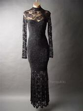Victorian Goth Blk Lace High Neck Mermaid Ball Evening Gown Long 46 fp Dress 1XL