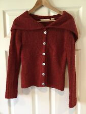 Sleeping on Snow Anthropologie Red Fuzzy Wool Cardigan W/ Hood, Size Small