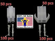 50 pair Big 2P White Tamiya connector plug RC car/airsoft LiPo/NiMh Battery/ESC