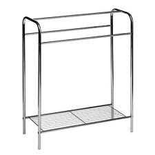 Floor Standing Towel Stand Rack Chrome Plated Steel Tube Frame Steel Wire Shelf