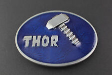 THOR HAMMER BLUE BELT BUCKLE AVENGERS  MARVEL COMIC BOOK MOVIE
