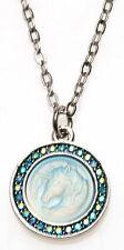 KIRKS FOLLY CLOUDWALKER NECKLACE - UNICORN  silvertone / aqua