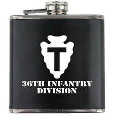 Army 36th Infantry Division Veteran Soldier Groomsman Gift Leather Wrapped Flask
