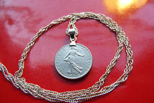 """Classic French Maiden 1/2 Franc Pendant on a 28"""" 925 Sterling Silver Wavy Chain"""