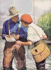ANTIQUE 8X10 PHOTOGRAPH REPRINT MAN AND WOMAN     FLY FISHING CREEL     NICE