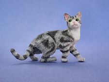 Miniature Dollhouse Doll House Gray & White Cat Looking Sideways 1:12 Scale New