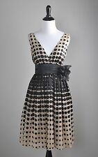 BURLAPP Anthropologie NWT $188 Dot Rosette Pin Optical Illusion Dress Size 0