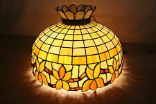 Antique Leaded Stained Glass Hanging Lamp Duffner Kimberly? 3 Socket Cluster