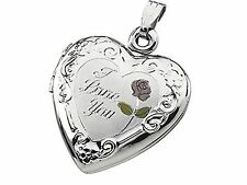 """I LOVE YOU"" TRI COLOR STERLING SILVER HEART LOCKET NO STONE"