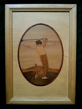"Vintage marquetry wood inlay picture ""Golfer"" by Nelson"