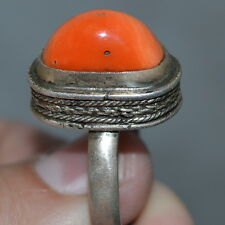 VINTAGE NATURAL BIG RED CORAL !! Imperial Russian RING STERLING SILVER 84 Salmon