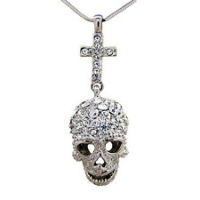 Butler and Wilson Clear Crystal Skull Cross Pendant Necklace Silver Tone NEW