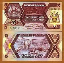 Uganda, 5 Shillings, 1987, Pick 27, UNC   Elephant, Hippo, Antelope