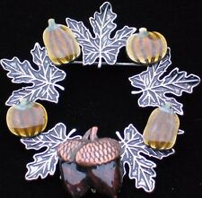NWT FALL THANKSGIVING PUMPKIN LEAVES LEAF ACORN NUT WREATH PIN BROOCH JEWELRY