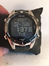 PULSAR WORLD TIME CHRONOGRAPH 5 DAILY ALARMS DAY & DATE MEN'S WATCH PQ2003 H18