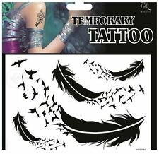 Set of 4 Arty Feathers & Feather Transforme Birds Temporary Tattoo~UK Seller~H81