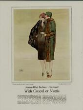 1920's FASHION PAGE AD / WITH CARACUL OR NUTRIA - ARTISTS: JOHN LA GATTA