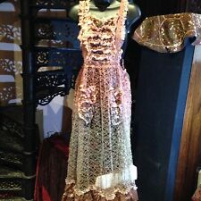 Hand Made Vintage Antique Tie Dyed Lace Maxi Smock Dress
