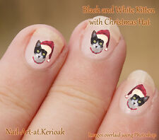 BLACK AND WHITE KITTEN cat Christmas, Santa Hat 24 Nail Art Stickers Decals